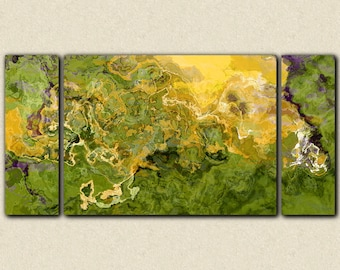 """Large triptych stretched canvas print, 30x60 to 40x78 in green and honey gold, from abstract painting """"After the Ball"""""""