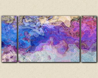 "Triptych abstract art canvas print, 30x60 to 40x78 stretched canvas giclee, in purple and blue, from abstract painting ""Lavender Blue"""