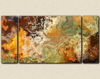 "Oversize triptych abstract  art stretched canvas print, 30x60 to 40x78, in orange and brown, from abstract painting ""Didn't He Ramble"""