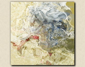 "Abstract contemporary art stretched canvas print, 30x30 to 36x36 in neutral tones, from abstract painting ""Time Warp"""