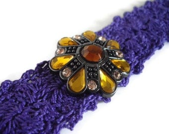 Purple Cuff Bracelet Lined Shell Hypoallergenic Handmade Lined Thread Crochet Hypo Allergenic