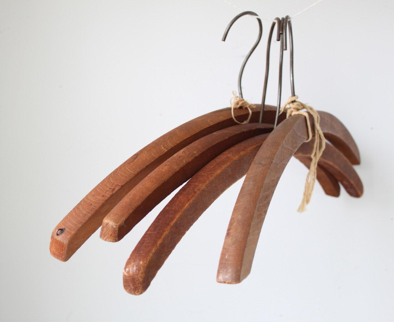 Sale Vintage 1920s Wood Hangers 4 Antique Thick Wooden
