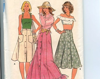 1970s Butterick 4199 Vintage Sewing Pattern Fit & Flare 8-Gore, Front Button Peasant or Boho Maxi Skirt UNCUT Waist 25 Hip 34 1/2