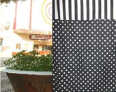 SALE...EXTRA LONG Ready to Ship Shower Curtain in  Black and White Natural Canopy Stripe and Ikat Dots by Premier Prints
