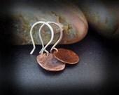 Antiqued Copper Earrings - Mixed Metal Earrings - Hammered Copper Earrings - Artisan Handmade Sterling Silver Earwires - ANTIQUED DROPS