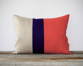 Color Block Pillow Cover in Coral, Navy & Natural Linen (12x16) by JillianReneDecor - Modern Home Decor, Colorblock Trio, Pantone Peach Echo