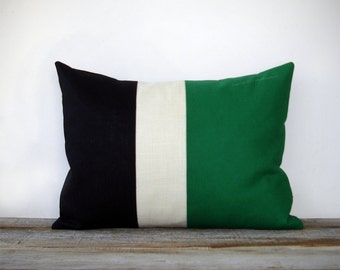 Emerald Colorblock Stripe Pillow in Cream and Black Linen by JillianReneDecor Modern Home Decor Color Preppy Kelly Green