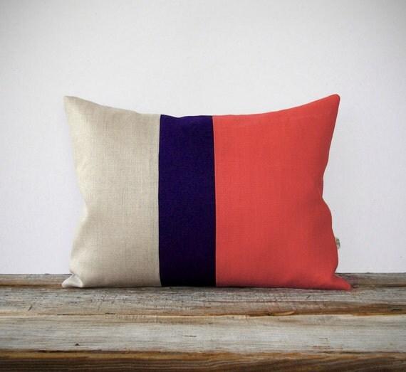 Color Block Pillow Cover in Coral, Navy & Natural Linen (12x16) by JillianReneDecor - Modern Home Decor, Colorblock Trio, Pantone Peach Echo