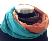 Fabulous Mobius Infinity Eternity Scarf Wrap - Brown, oranges, teal blue -made from recycled jersey knit shirts
