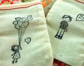 Precious Valentines Packages Muslin Drawstring Bags Set of 5 Choose Your Image
