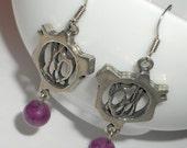 purple agate earrings, silver link and amethyst funky  earrings, Bohemian jewelry