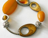 Bracelet, earth tone golden yellow agate chunky beaded bracelet, bohemian jewelry