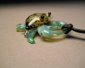 Crab pendant on braided cord Ocean crab necklace jewelry blue & green