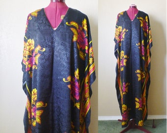 vintage floral CAFTAN black/golden yellow