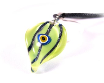 Green Twisted & Striped Leaf  Evil Eye Pendant Necklace