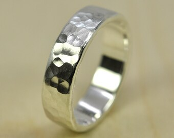 Mens Afffordable Wedding Band, Hammered Matte, Recycled Silver Ring, 5.5mm Pure Silver Eco Friendly, Sea Babe Jewelry