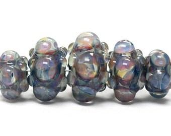 Five Graduated Purple & Blue Rondelle Beads Bubbly raised design - Handmade Glass Lampwork Beads - 10408911