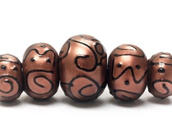 Five Graduated Copper Pearl Surface w/Black Swirl Rondelle Beads - Handmade Glass Lampwork Beads - 11204411