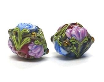 Glass Lampwork Bead Set - Five Grace's Garden Bicone Beads 10108307