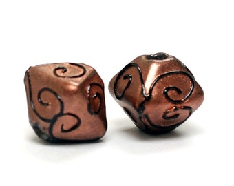 Glass Lampwork Bead Sets  - Five Copper Pearl Surface w/Black Swirl Bicone Beads 11204407