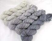 Gradient Yarn Kit, Hand Dyed Merino Wool, Pebble Sock - Smoke