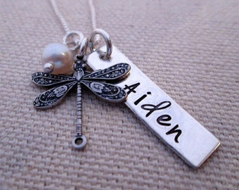 Personalized Jewelry - Mothers Necklace - hand stamped jewelry Dragonfly Dreams - Name Necklace