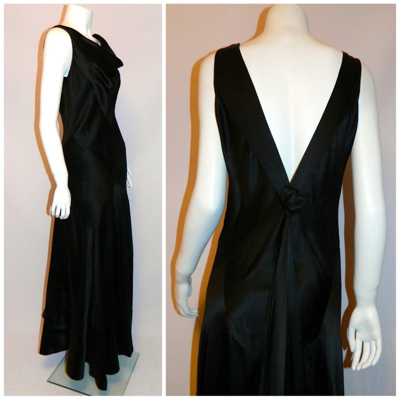 Vintage 1930s Dress Black Silk Satin Bias Cut DECO Gown