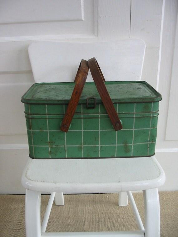 Vintage Metal Basket Picnic Green Industrial Storage