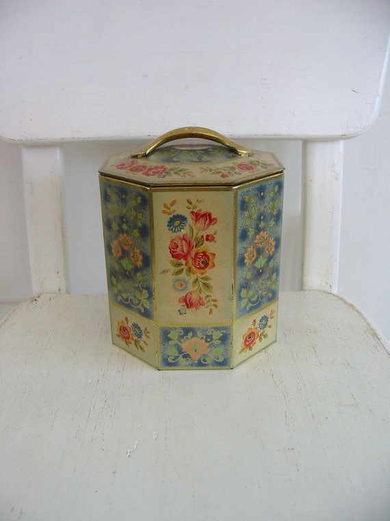 Vintage Metal Tin Box Flowers Biscuit Shabby Cottage Chic