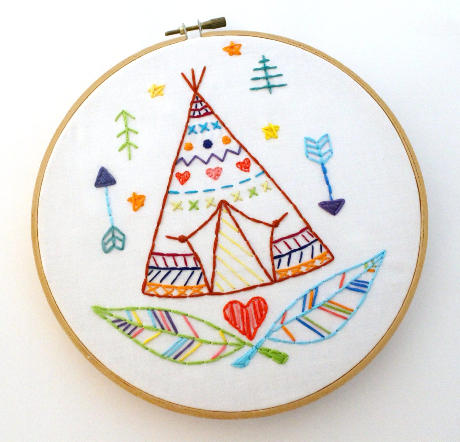 teepee western indian summer camp hand embroidery pdf
