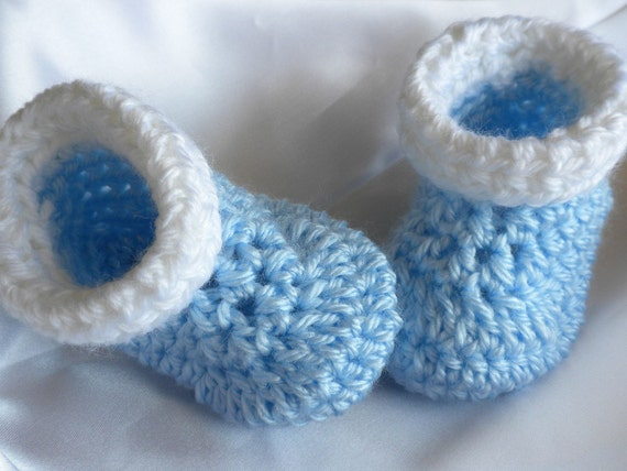Crochet Baby Boy Booties Crocheted Blue and White Booties