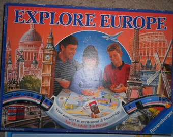 1992 Ravensburger Explore Europe Game Ages 10-Adult 2-6 Players Made in Germany