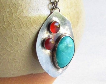 Turquoise and Carnelian Necklace - Turquoise Jewelry - December Birthstone - Modern Turquoise Necklace - Clearance Jewelry