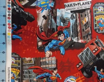 Superman Saves The City Fabric By The Yard FBTY