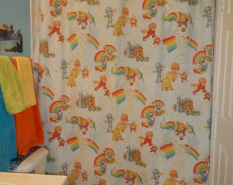Shower curtain Made With Vintage rainbow Brite Bed Sheets (not a licensed product)