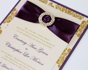 Courtney Damask Wedding Invitation, Embellished Wedding Invitation, Elegant Invitation - Deep Purple, Gold, Ivory - Sample