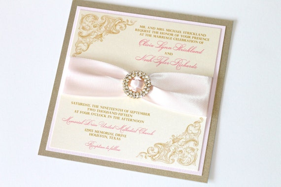 Olivia Couture Crystal Buckle Wedding Invitation Sample - Blush Pink, Ivory and Gold Leaf
