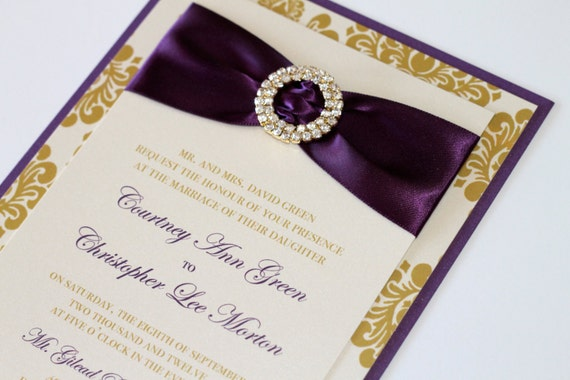 Courtney Damask Wedding Couture Invitation Sample - Gold and Ivory Damask Deep Purple - Crystal Buckle