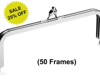 "50pcs - 8"" x 3"" Nickel Purse Frame with Teardrop Clasp - Free Shipping (PURSE FRAME FRM-100)"