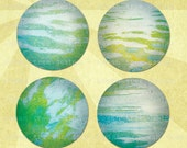RIPPLES & REFLECTIONS Digital Collage Sheet Abstract 2.25in LARGE Circles Pocket Mirror Size - no. 0196