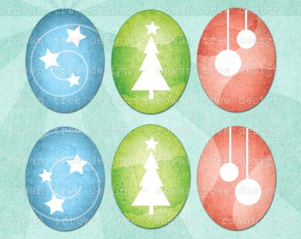 CHRISTMAS OVALS Digital Collage Sheet 30x40mm Ovals - no. 0080