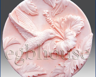 2D Silicone Soap Mold - Hummingbird in Hibiscus Garden - Free Shipping