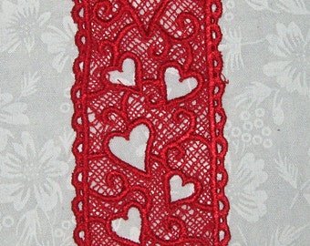 "Machine embroidered Lace Heart Bookmark, Variegated Red 5 1/4"" x 1 5/8"""