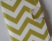 Fabric Notebook Organizer with Pockets, Pad, and Pen, Lime Green Chevron