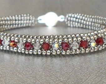 tennis bracelet red crystal