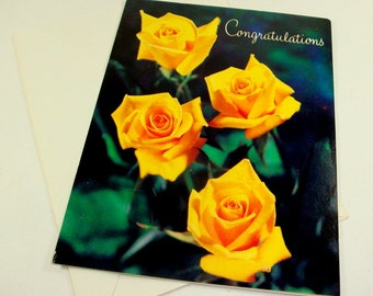 Vintage Yellow Rose Happy Anniversary Greeting Card, Congratulations, Unsigned, Envelope Included   (120-13)