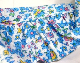 Vintage Floral Ruffle Trim, One Yard Length, Blue, Yellow Flowers, Sewing, Crafting, Retro
