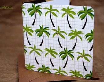 Blank Mini Card Set of 10, Mini Palm Trees with Contrasting Pattern on the Inside, Metallic Mocha Envelopes, mad4plaid