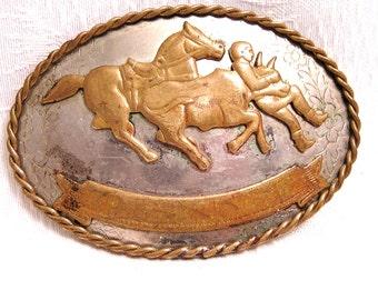 Vintage German Silver Western Belt Buckle Steer Wrestling Cowboy Design. (J65)