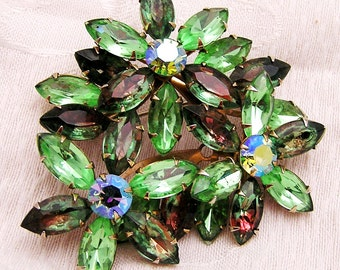 Vintage Rhinestone Brooch in Green and Watermelon. Large Size. B1